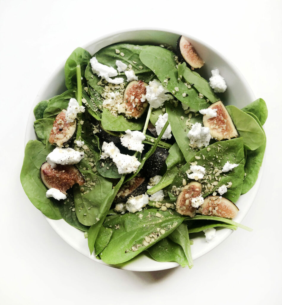 Spinach & Fig salad with Feta Crumble